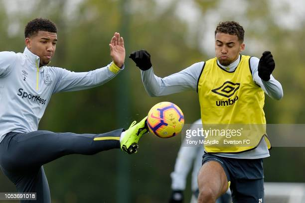 Mason Holgate and Dominic CalvertLewin during the Everton training session at USM Finch Farm on October 25 2018 in Halewood England