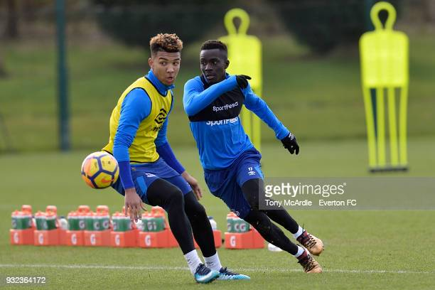 Mason Holgate and Idrissa Gueye during the Everton FC training session at USM Finch Farm on March 15 2018 in Halewood England