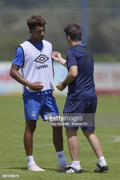 Mason Holgate and Marco Silva of Everton during the Everton training session on July 12 2018 in Bad Mitterndorf Austria