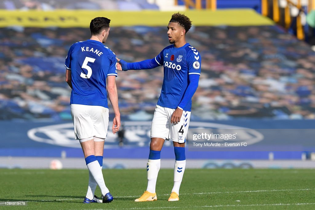 Mason Holgate and Michael Keane of Everton during the Premier League...  News Photo - Getty Images