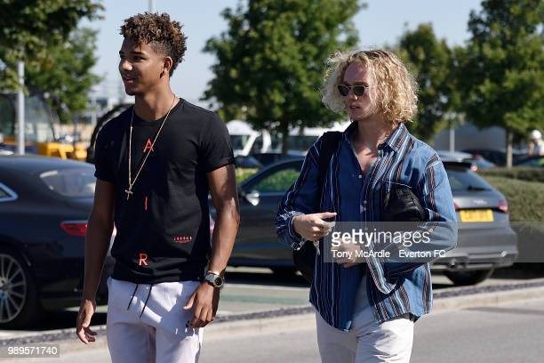Mason Holgate and Tom Davies of Everton returns for training at USM Finch Farm on July 2 2018 in Halewood England