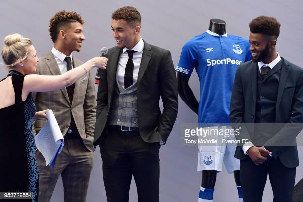 Mason Holgate Dominic CalvertLewin and Beni Baningime of Everton during The Dixies end of season awards at the Royal Liverpool Philharmonic Hall on...