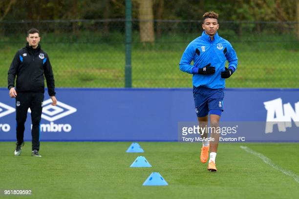 Mason Holgate during the Everton FC training session at USM Finch Farm on April 26 2018 in Halewood England