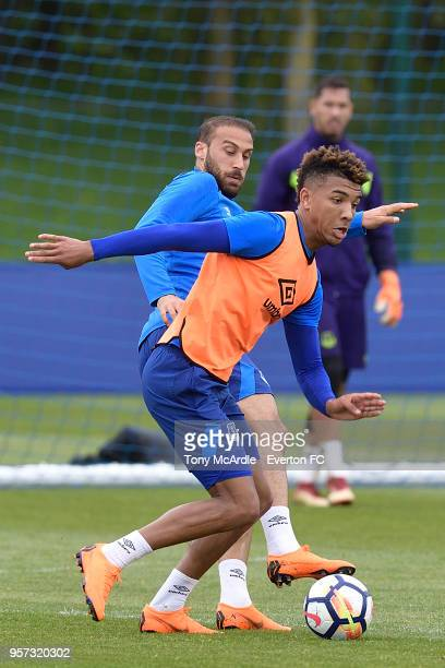 Mason Holgate during the Everton FC training session at USM Finch Farm on May 11 2018 in Halewood England