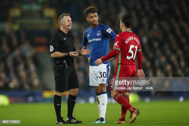 Mason Holgate of Everton and Roque Mesa of Swansea City have a disagreement during the Premier League match between Everton and Swansea City at...