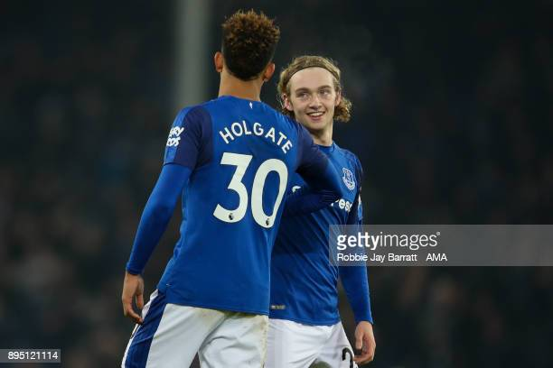 Mason Holgate of Everton and Tom Davies of Everton during the Premier League match between Everton and Swansea City at Goodison Park on December 18...