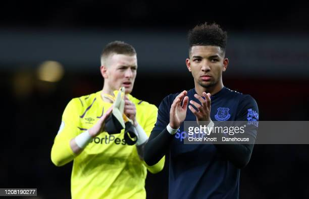 Mason Holgate of Everton applauds the fans after during the Premier League match between Arsenal FC and Everton FC at Emirates Stadium on February 23...