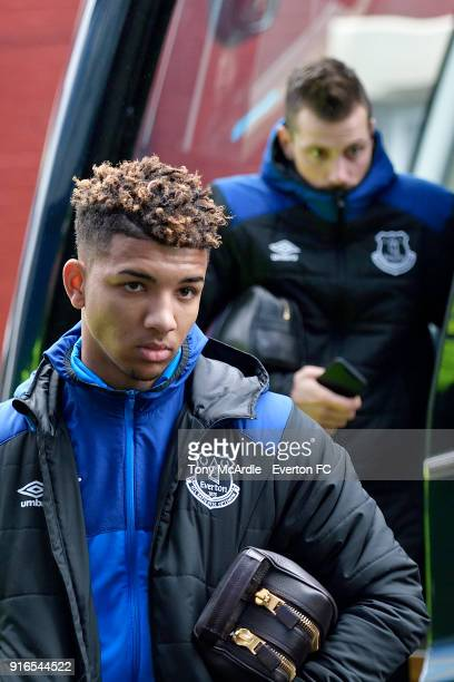 Mason Holgate of Everton arrives before the Premier League match between Everton and Crystal Palace at Goodison Park on February 10 2018 in Liverpool...