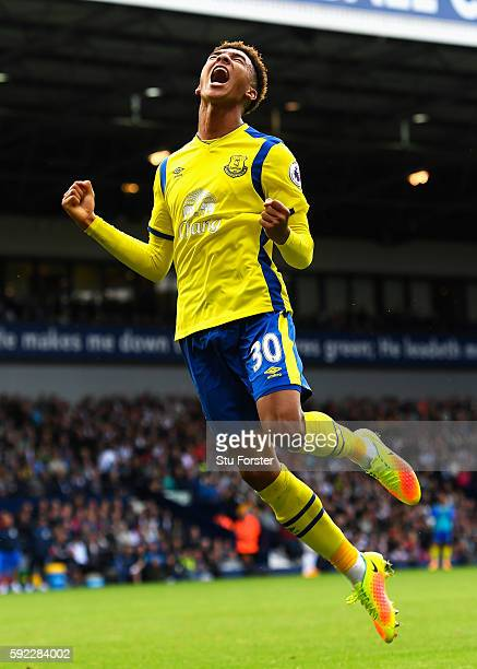 Mason Holgate of Everton celebrates after his side scored their second goal during the Premier League match between West Bromwich Albion and Everton...