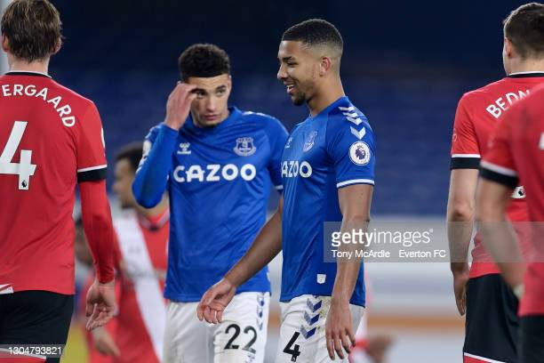 Mason Holgate of Everton during the Premier League match between Everton and Southampton at Goodison Park on March 2021 in Liverpool, England.