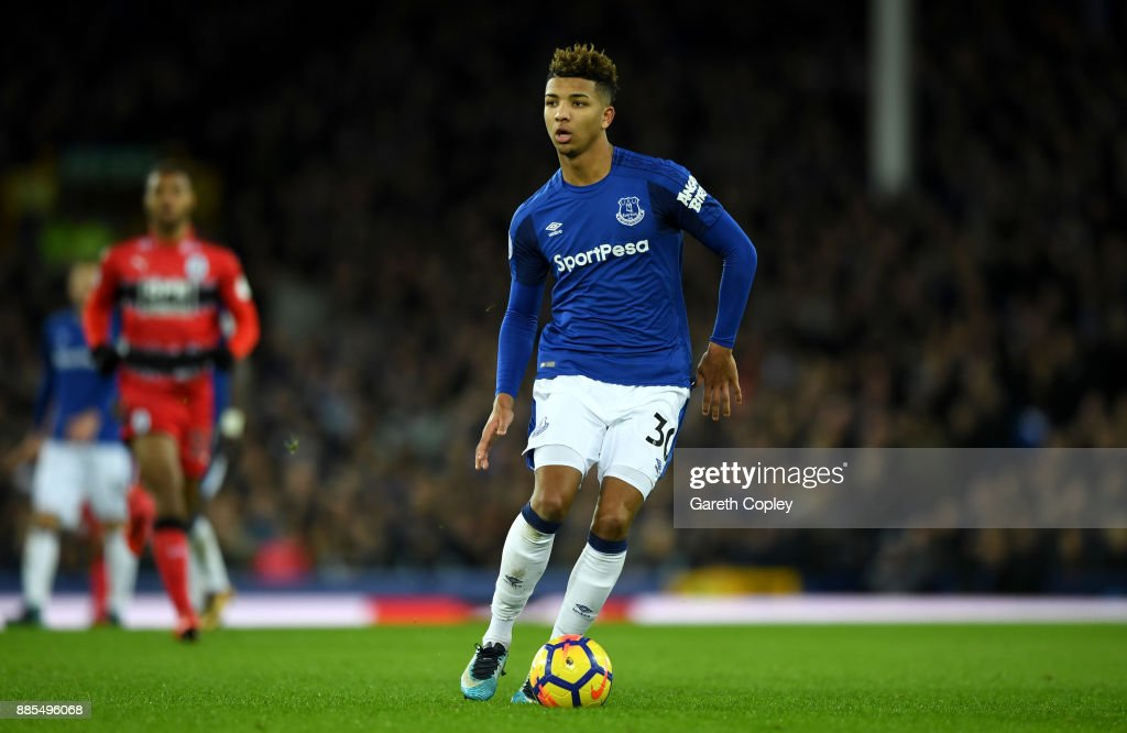 Mason Holgate of Everton during the Premier League match between Everton and Huddersfield Town at Goodison Park on December 2, 2017 in Liverpool, England.