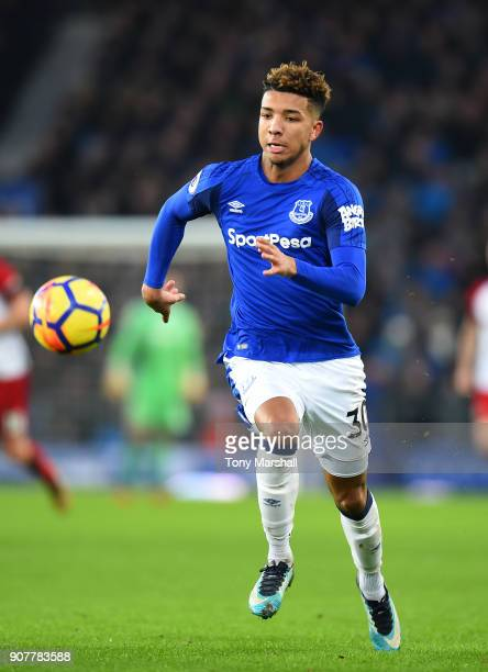 Mason Holgate of Everton during the Premier League match between Everton and West Bromwich Albion at Goodison Park on January 20 2018 in Liverpool...