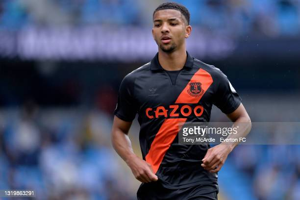Mason Holgate of Everton during the Premier League match between Manchester City and Everton at the Etihad Stadium on May 23, 2021 in Manchester,...
