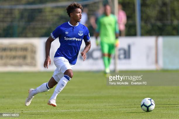 Mason Holgate of Everton on the ball during the preseason friendly match between ATV Irdning and Everton on July 14 2018 in Liezen Austria