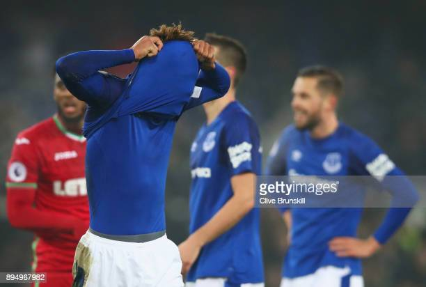 Mason Holgate of Everton reacts as he is booked during the Premier League match between Everton and Swansea City at Goodison Park on December 18 2017...