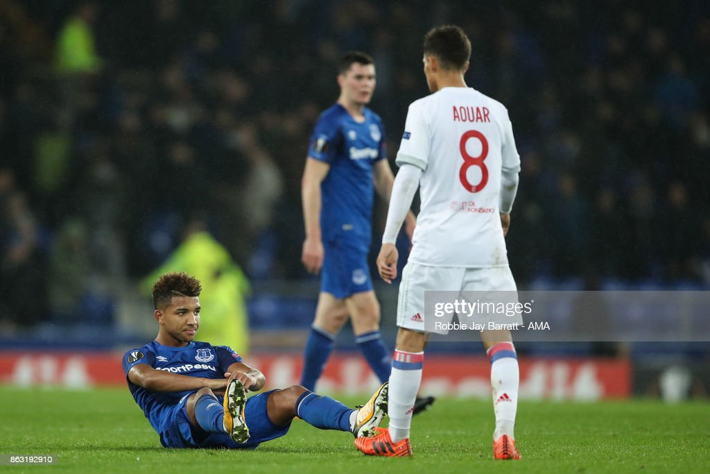 Mason Holgate of Everton reacts at full time during the UEFA Europa League group E match between Everton FC and Olympique Lyon at Goodison Park on October 19, 2017 in Liverpool, United Kingdom.