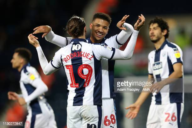 Mason Holgate of West Bromwich Albion celebrates after scoring a goal to make it 20 during the Sky Bet Championship match between West Bromwich...