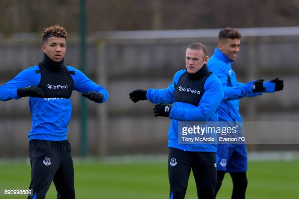 Mason Holgate Wayne Rooney and Dominic CalvertLewin during the Everton training session at USM Finch Farm on December 12 2017 in Halewood England