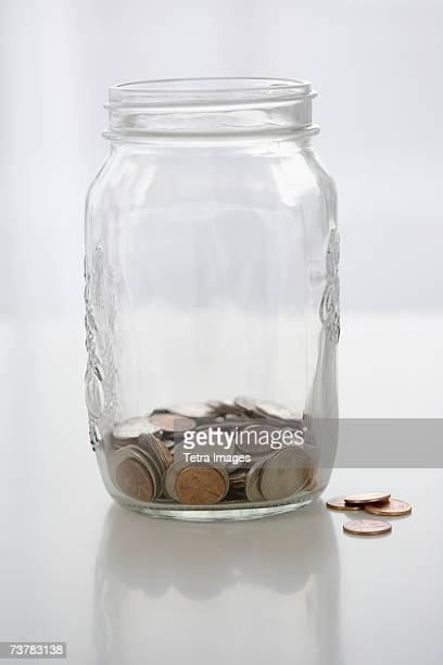 mason jar with change - jar stock pictures, royalty-free photos & images
