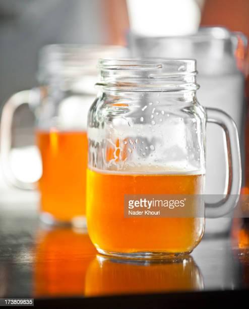 Mason jars of beer
