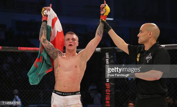 Mason Jones is awarded the win over Donovan Desmae during Cage Warriors 104 on April 27 2019 In Cardiff, Wales.