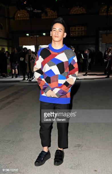 Mason Lee wearing Burberry at the Burberry February 2018 show during London Fashion Week at Dimco Buildings on February 17 2018 in London England