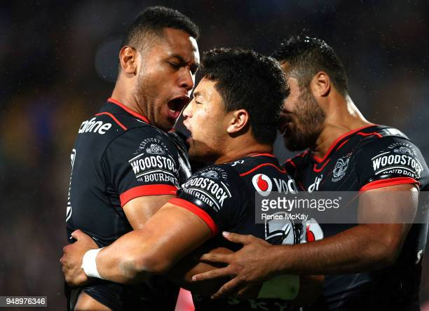 Mason Lino of the Warriors celebrates his try with David Fusitu'a during the round seven NRL match between the New Zealand Warriors and the St George...