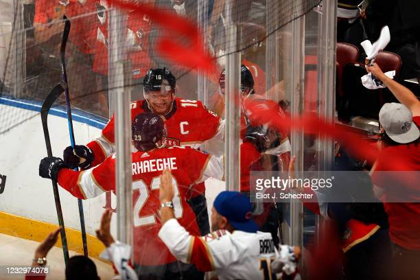 Mason Marchment of the Florida Panthers celebrates his goal with teammates during the second period against the Tampa Bay Lightning in Game Two of...