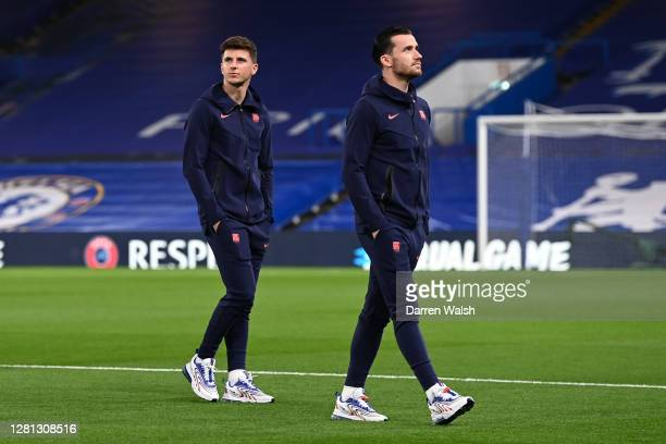 Mason Mount and Ben Chilwell of Chelsea take part in a pitch inspection prior to the UEFA Champions League Group E stage match between Chelsea FC and...