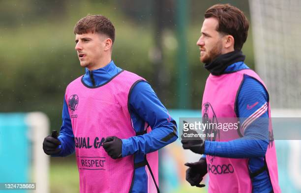 Mason Mount and Ben Chilwell of England look on during the at Tottenham Hotspur Training Centre on June 21, 2021 in Enfield, England.