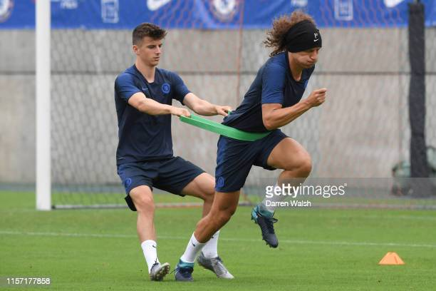 Mason Mount and David Luiz of Chelsea during a training session at NACK5 Stadium on July 22 2019 in Saitama Japan