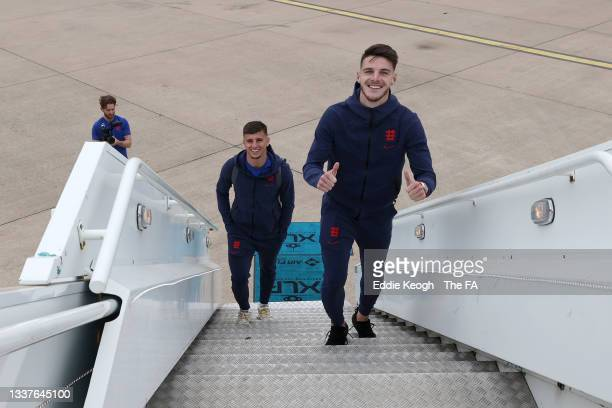 Mason Mount and Declan Rice of England board the plane as England travel to Budapest, ahead of their World Cup Qualifier match against Hungary, on...