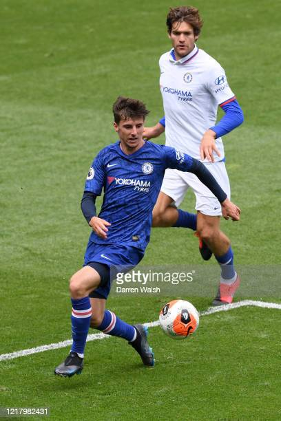 Mason Mount and Marcos Alonso of Chelsea during a training session at Stamford Bridge on June 6 2020 in London England