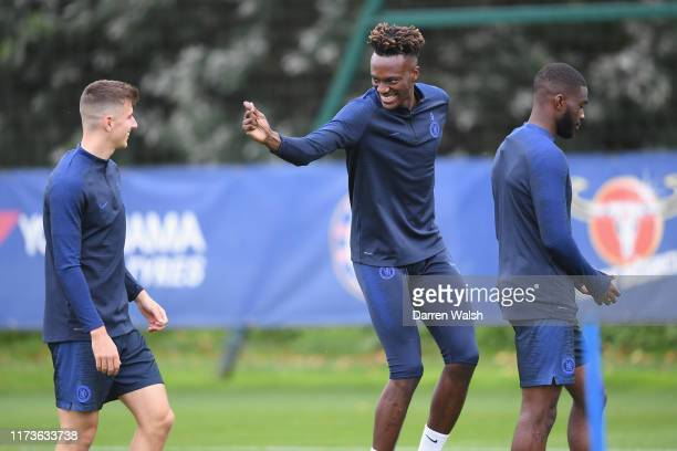 Mason Mount and Tammy Abraham of Chelsea during a training session at Chelsea Training Ground on October 4 2019 in Cobham England