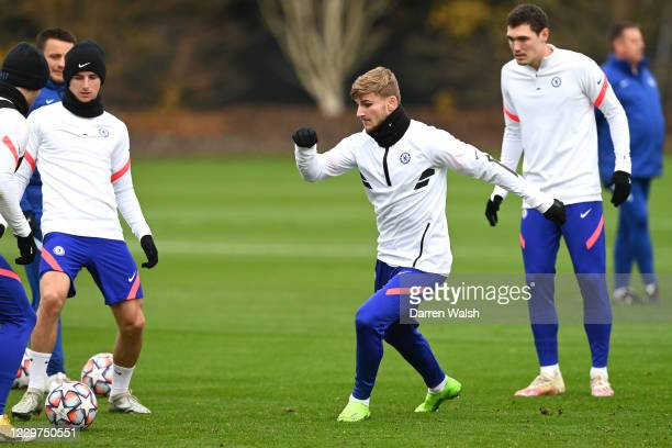 Mason Mount and Timo Werner of Chelsea during a training session ahead of the UEFA Champions League Group E stage match between Chelsea FC and FC...