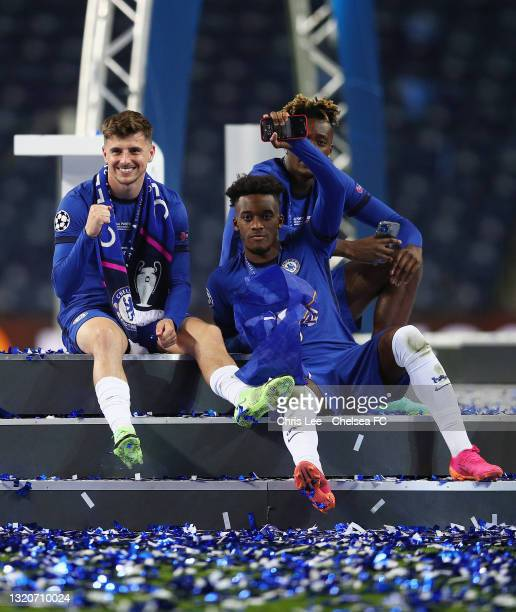 Mason Mount, Callum Hudson-Odoi and Tammy Abraham of Chelsea celebrate following victory during the UEFA Champions League Final between Manchester...