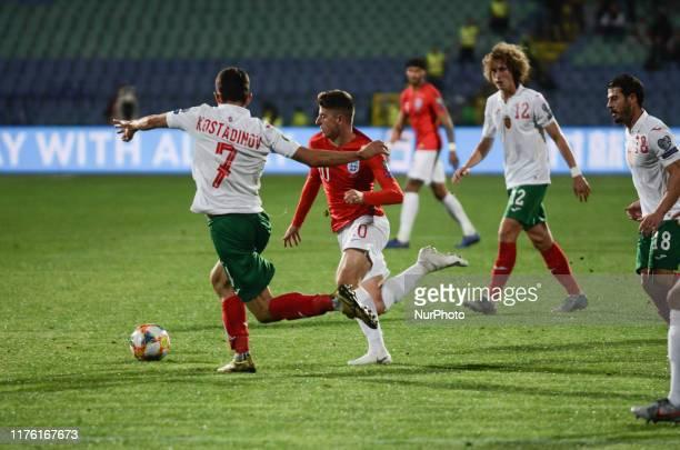 Mason Mount England against Georgi Kostadinov Bulgaria during the UEFA EURO 2020 Qualifications Bulgaria v England at Vasil Levski National Stadium...