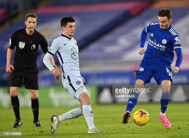 Mason Mount of Chelsea and James Maddison of Leicester City battle for possession during the Premier League match between Leicester City and Chelsea...