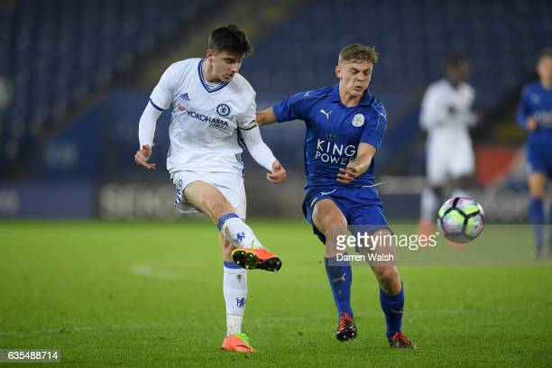 Mason Mount of Chelsea and Kiernan DewsburyHall of Leicester City during a FA Youth Cup 6th round match between Leicester City and Chelsea at The...