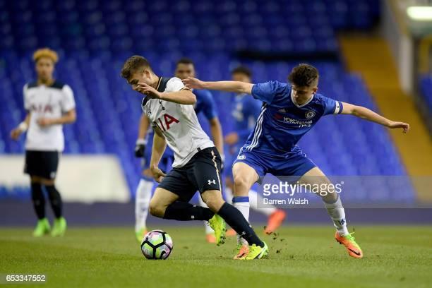 Mason Mount of Chelsea and Nicholas Tsaroulla of Tottenham Hotspur during a FA Youth Cup Semi Final First Leg match between Tottenham Hotspur v...