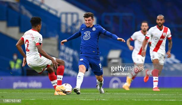 Mason Mount of Chelsea battles for possession with Kyle WalkerPeters of Southampton during the Premier League match between Chelsea and Southampton...