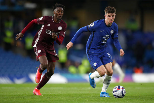 Mason Mount of Chelsea battles for possession with Wilfred Ndidi of Leicester City during the Premier League match between Chelsea and Leicester City...