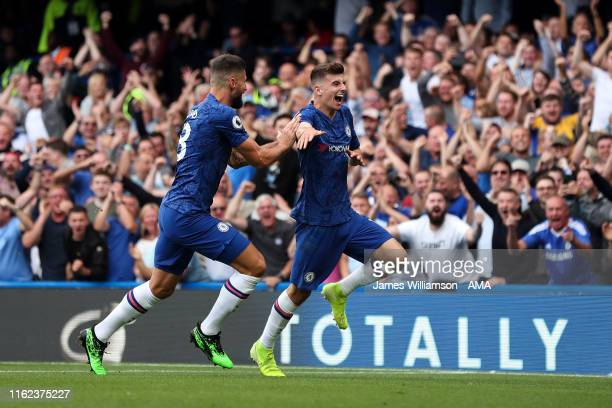 Mason Mount of Chelsea celebrates after scoring a goal to make it 10 during the Premier League match between Chelsea FC and Leicester City at...