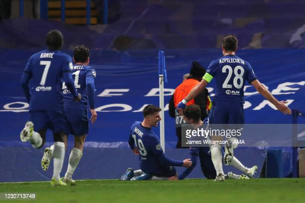 Mason Mount of Chelsea celebrates after scoring a goal to make it 2-0 during the UEFA Champions League Semi Final Second Leg match between Chelsea...