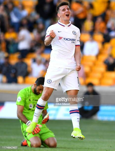 Mason Mount of Chelsea celebrates after scoring his team's fifth goal during the Premier League match between Wolverhampton Wanderers and Chelsea FC...