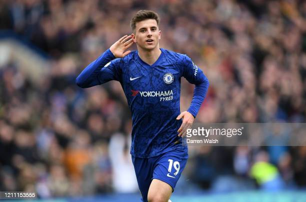 Mason Mount of Chelsea celebrates after scoring his team's first goal during the Premier League match between Chelsea FC and Everton FC at Stamford...