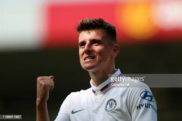 Mason Mount of Chelsea celebrates after scoring his team's second goal during the Premier League match between Norwich City and Chelsea FC at Carrow...