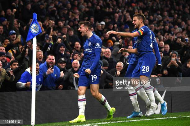 Mason Mount of Chelsea celebrates after scoring his team's second goal during the Premier League match between Chelsea FC and Aston Villa at Stamford...