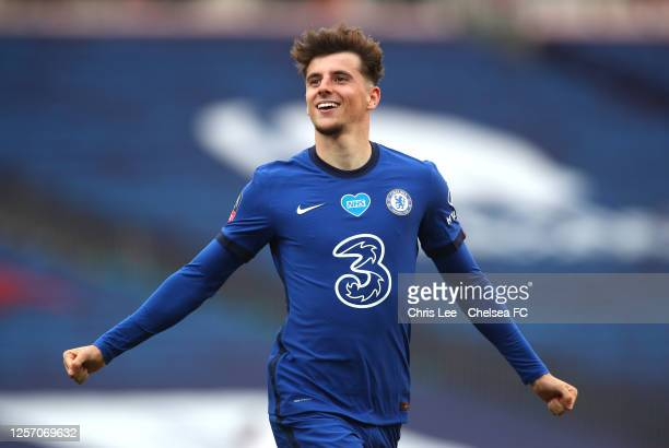Mason Mount of Chelsea celebrates after scoring his teams second goal during the FA Cup Semi Final match between Manchester United and Chelsea at...