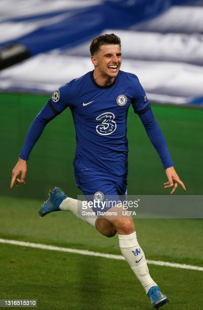 Mason Mount of Chelsea celebrates after scoring his team's second goal during the UEFA Champions League Semi Final Second Leg match between Chelsea...